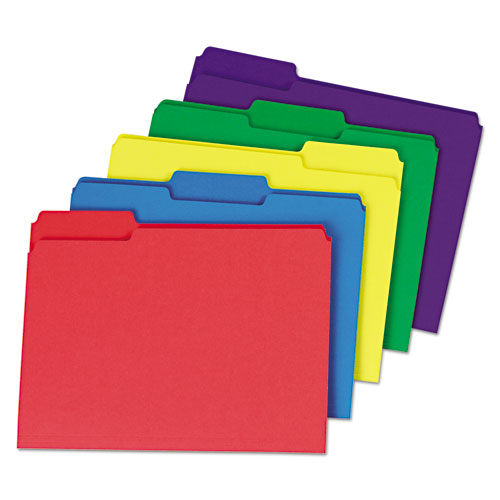Deluxe Heavyweight File Folders, 1/3-Cut Tabs, Letter Size, Assorted, 50/Box