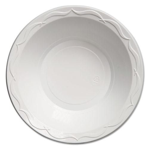 Genpak® Aristocrat Plastic Bowls,  24oz., White, 125/Pack, 4 Packs/Carton