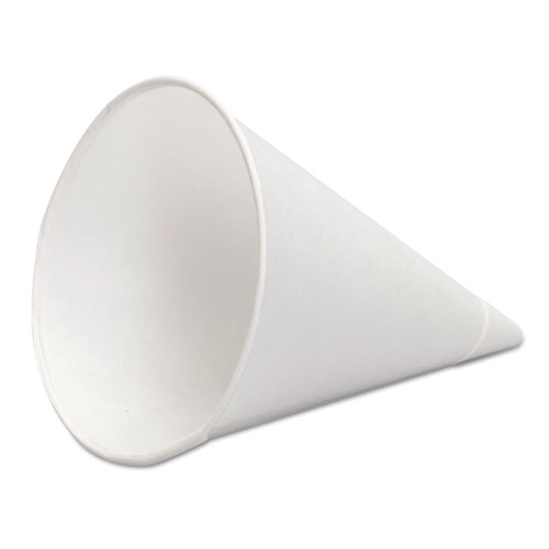 Paper Cone Cups, w/Rolled Rim, 4.5 Oz, White, 1000/Bag, 5 Bags/Carton W42FC