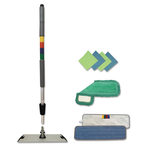 Microfiber Mopping Kit, 18 Mop Head, 35-60Handle, Blue/Green/Gray
