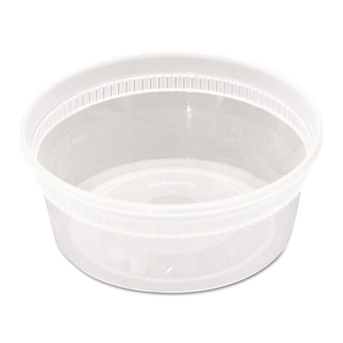 DELItainer Microwavable Combo, Clear, 8 oz, 1.13 x 2.8 x 1.33, 240/Carton | by Plexsupply