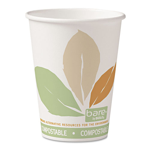 Bare  by Solo Eco-Forward PLA Paper Hot Cups, 12oz,Leaf Design,50/Bag,20 Bags/Ct 412PLNJ7234