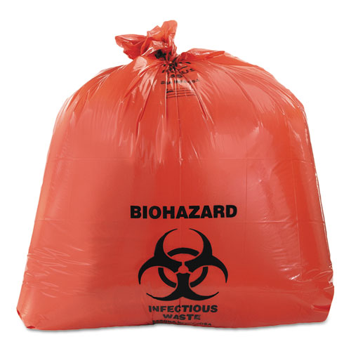 Healthcare Biohazard Printed Can Liners, 40-45 gal, 3mil, 40 x 46, Red, 75/CT