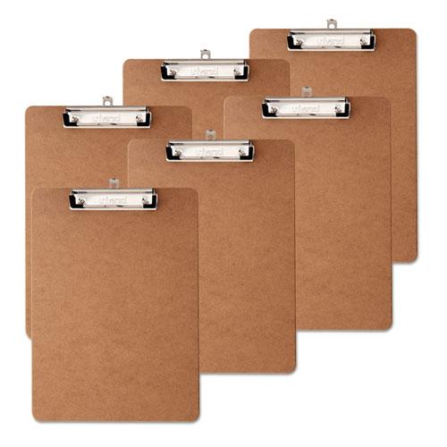 "Hardboard Clipboard, 1/2"" Capacity, Holds 8 1/2w x 12h, Brown, 6/Pack"