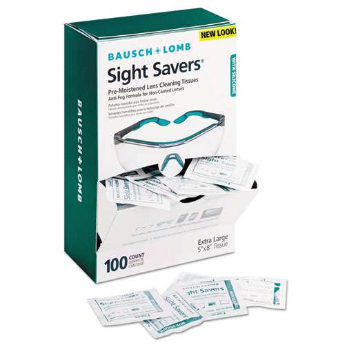 Sight Savers Pre-Moistened Anti-Fog Tissues with Silicone, 8 x 5, 100/Box
