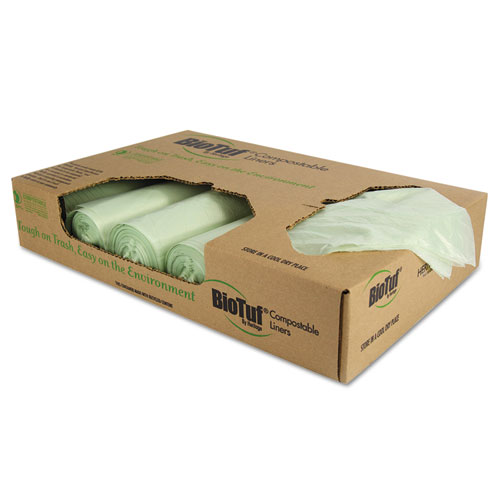 """Heritage Biotuf Compostable Can Liners, 48 gal, 1 mil, 42"""" x 48"""", Green, 100/Carton"""