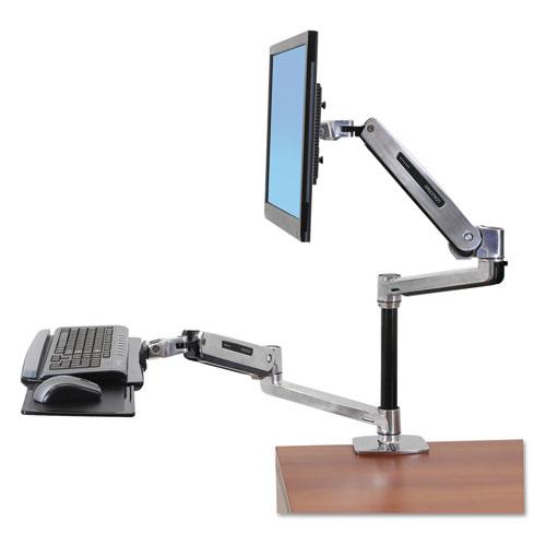 WorkFit-LX Sit-Stand Workstation Mount System, Polished Aluminum