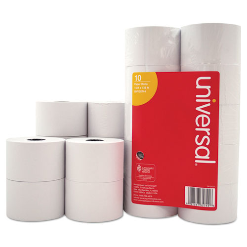 "Impact & Inkjet Print Bond Paper Rolls, 0.5"" Core, 1.75"" x 138 ft, White, 10/Pack 