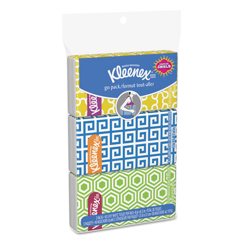 On The Go Packs Facial Tissues, 3-Ply, White, 30 Sheets/Pack, 36 Packs/Carton