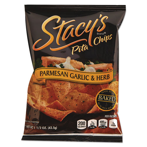 Pita Chips, 1.5 oz Bag, Parmesan Garlic and Herb, 24/Carton