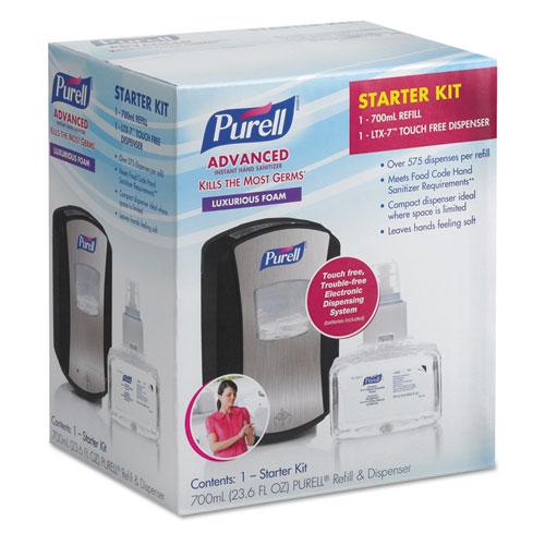 "PURELL® LTX-7 Advanced Instant Hand Sanitizer Kit, 700 mL, 5.75"" x 4"" x 10.31"", Chrome/Black, 4/Carton"