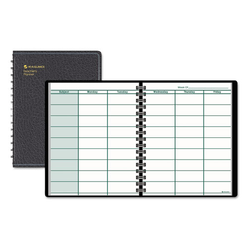 Undated Teacher's Planner, 10 7/8 x 8 1/4, Black | by Plexsupply