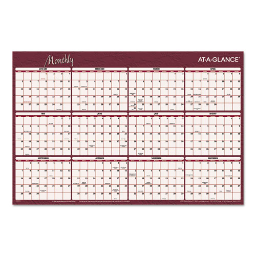 Wall Calendar Planner : Reversible horizontal erasable wall planner