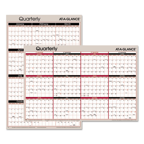 Vertical/Horizontal Erasable Quarterly Wall Planner, 24 x 36, 2020 | by Plexsupply
