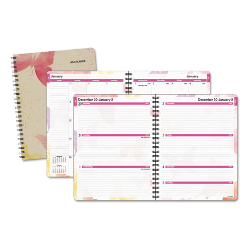 Watercolors Weekly/Monthly Planner, 11 x 8 1/2, Watercolors, 2020-2021 | by Plexsupply