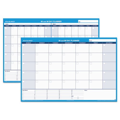30/60-Day Undated Horizontal Erasable Wall Planner, 48 x 32, White/Blue, | by Plexsupply
