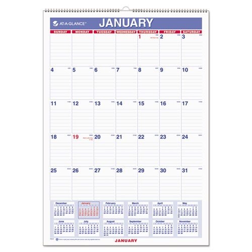 Monthly Wall Calendar : Aagpm at a glance monthly wall calendar with ruled