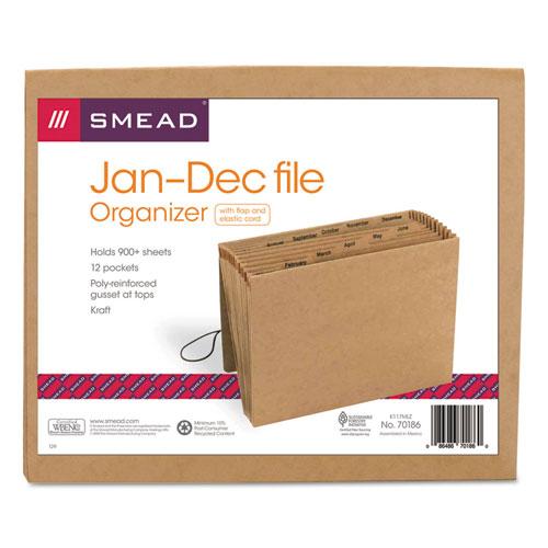 Smead® Jan-Dec Indexed Expanding Files, 12 Pockets, Letter, Kraft