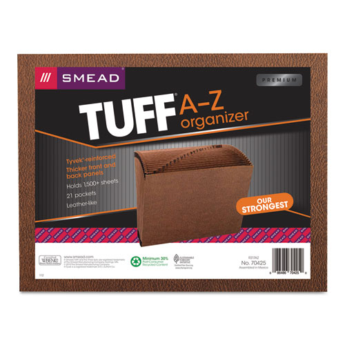 TUFF Expanding Files, 21 Sections, 1/21-Cut Tab, Letter Size, Redrope | by Plexsupply