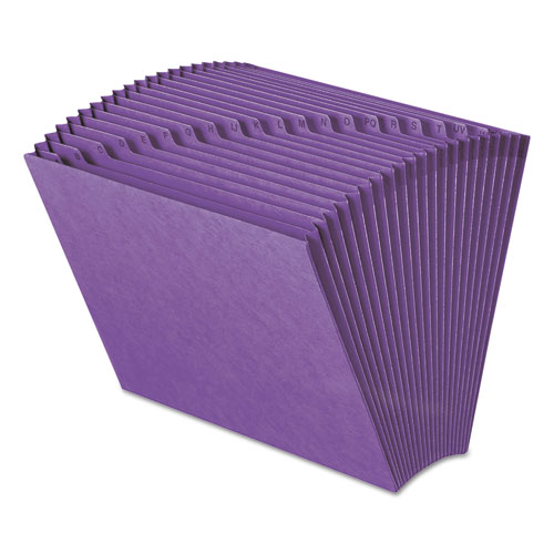 Heavy-Duty Indexed Expanding Open Top Color Files, 21 Sections, 1/21-Cut Tab, Letter Size, Purple | by Plexsupply