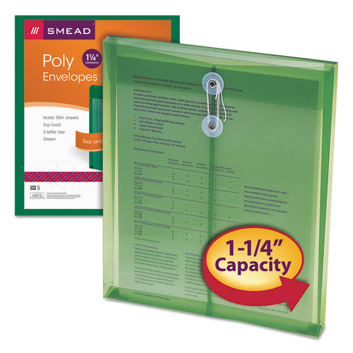 Poly String & Button Interoffice Envelopes, String & Button Closure, 9.75 x 11.63, Transparent Green, 5/Pack