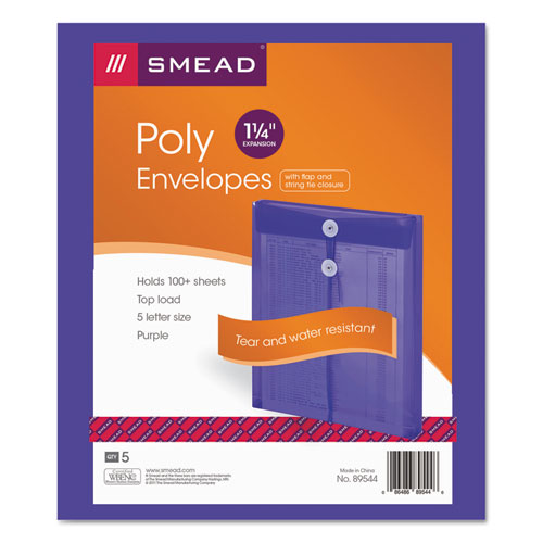 Poly String & Button Interoffice Envelopes, String & Button Closure, 9.75 x 11.63, Transparent Purple, 5/Pack | by Plexsupply
