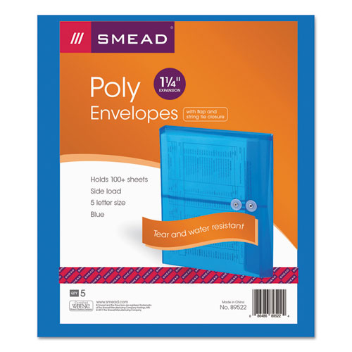 Poly String & Button Interoffice Envelopes, String & Button Closure, 9.75 x 11.63, Transparent Blue, 5/Pack | by Plexsupply