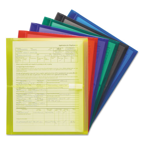 Poly Side-Load Envelopes, Fold Flap Closure, 9.75 x 11.63, Assorted, 6/Pack | by Plexsupply