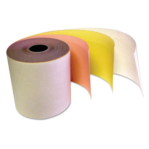 """Carbonless Receipt Rolls, 3"""" x 67 ft, White/Canary/Pink, 60/Carton 