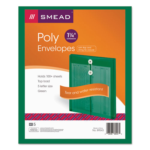 Poly String & Button Interoffice Envelopes, String & Button Closure, 9.75 x 11.63, Transparent Green, 5/Pack | by Plexsupply