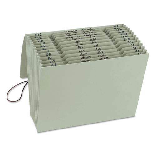 100% RECYCLED COLORED EXPANDING FILES, 12 SECTIONS, 1/12-CUT TAB, LETTER SIZE, GREEN TEA