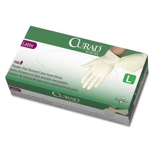 Curad Large Powder-Free Latex Exam Gloves  White  100/Box CUR8106