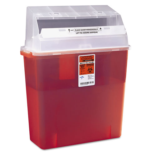 Sharps Container for Patient Room, Plastic, 3 gal, Rectangular, Red