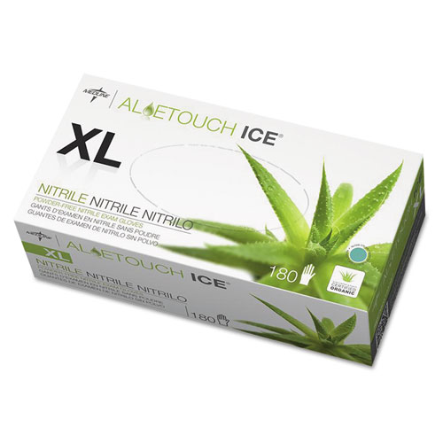 Aloetouch Ice Nitrile Exam Gloves, X-Large, Green, 180/Box