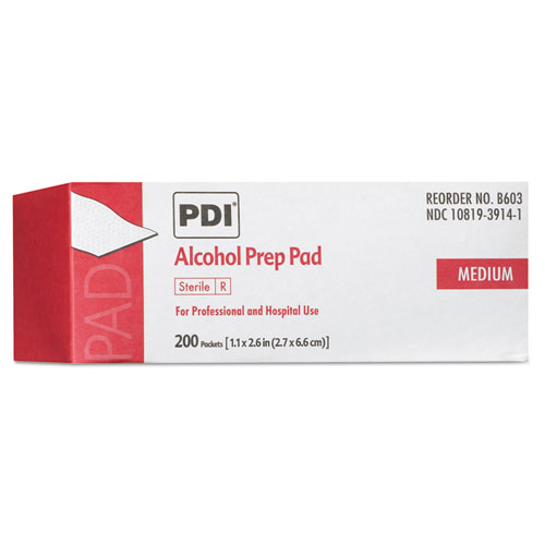 PDI Alcohol Prep Pads, White, 200/Box