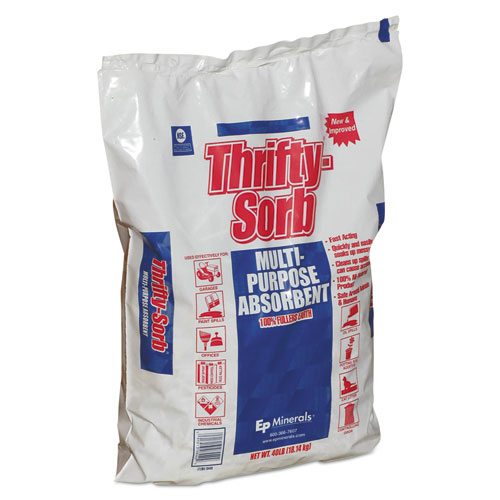 Thrifty-Sorb® All-Purpose Clay Absorbent, 40 lb, Poly-Bag, 50/Carton