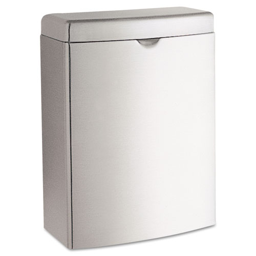 Contura Sanitary Napkin Receptacle, Rectangular, 1 gal, Stainless Steel | by Plexsupply