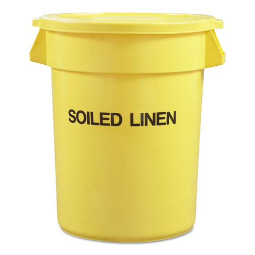 Round Brute Container with Trash Only Imprint, Plastic, 33 gal, Yellow