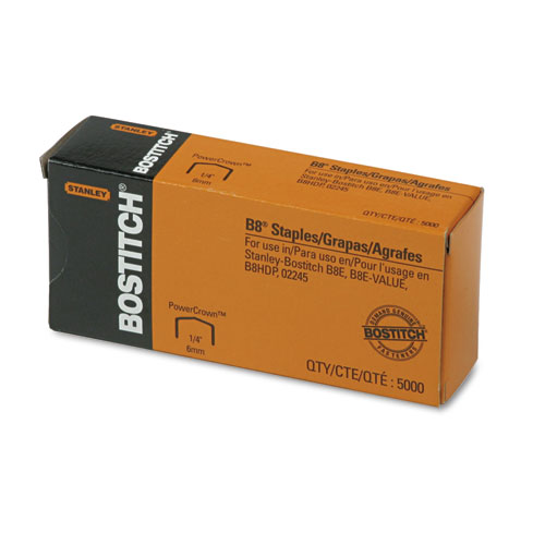 "B8 PowerCrown Premium Staples, 0.25"" Leg, 0.5"" Crown, Steel, 5,000/Box 