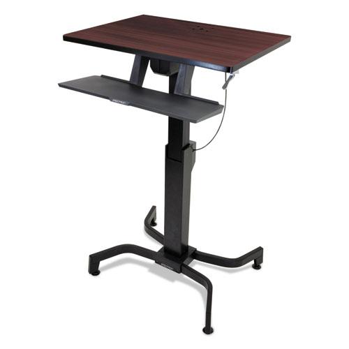 Ergotron® WorkFit-PD Sit-Stand Workstation, 31 1/2 x 23 1/2 x 29 1/2, Walnut/Black