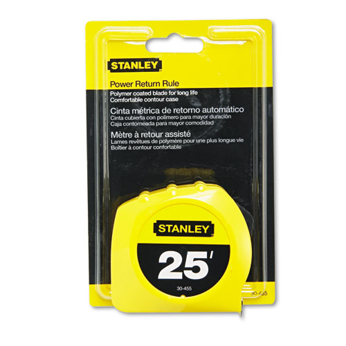 Power Return Tape Measure, Plastic Case, 1 x 25ft, Yellow
