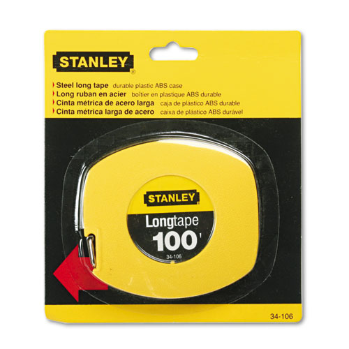 Long Tape Measure, 1/8 Graduations, 100ft, Yellow
