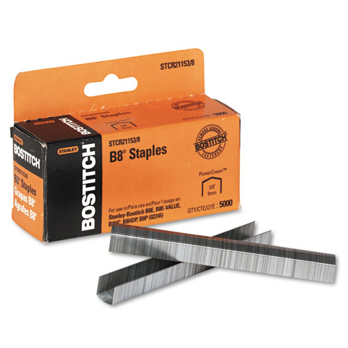 B8 PowerCrown Premium Staples, 0.38 Leg, 0.5 Crown, Steel, 5,000/Box