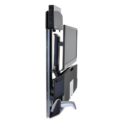 StyleView Sit-Stand Combo w/Small Black CPU Holder/Worksurface, Aluminum/Black 45272026