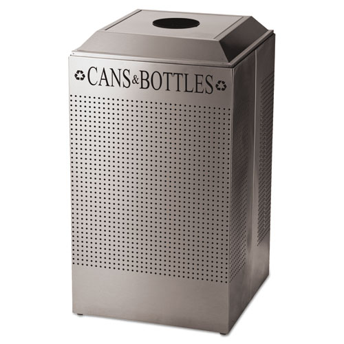 Designer Line Silhouettes Recycling Receptacle, Can/Bottle, Steel, 26gal, Silver