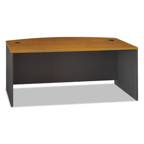 Series C Collection 72W Bow Front Desk Shell, 71.13w x 36.13d x 29.88h, Natural Cherry | by Plexsupply