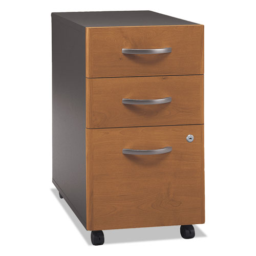 Series C Collection 3 Drawer Mobile Pedestal (Assembled), 15.75w x 20.25d x 27.88h, Natural Cherry | by Plexsupply