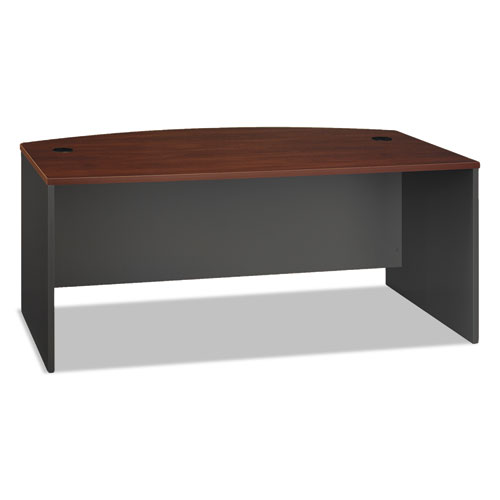 Series C Collection 72W Bow Front Desk Shell, 71.13w x 36.13d x 29.88h, Hansen Cherry/Graphite Gray | by Plexsupply