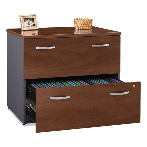 Series C Collection 2 Drawer 36W Lateral File (Assembled), 35.75w x 23.38d x 29.88h, Hansen Cherry | by Plexsupply