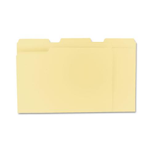 Top Tab Manila File Folders, 1/3-Cut Tabs, Assorted Positions, Letter Size, 11 pt. Manila, 100/Box